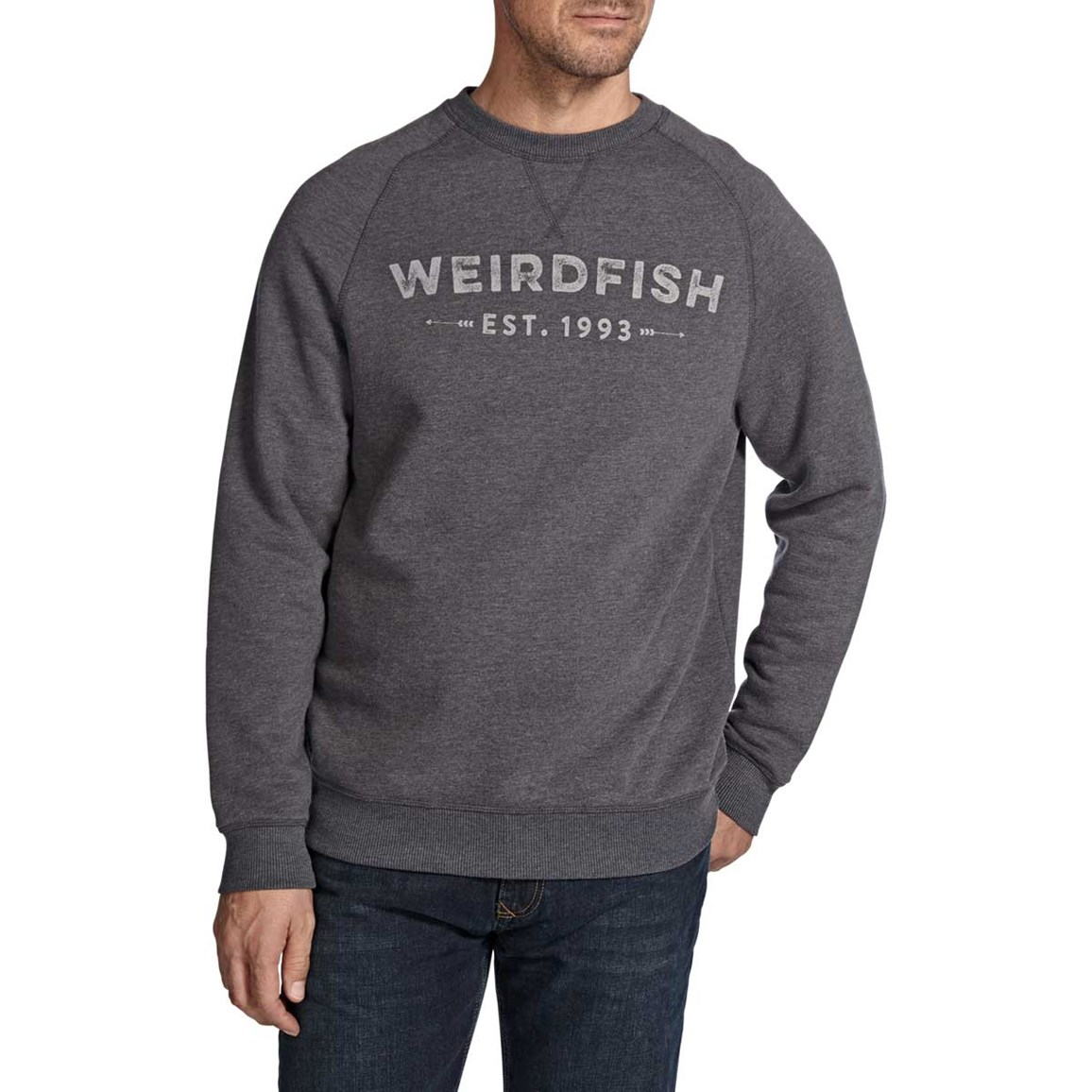 Clyde Printed Crew Neck Sweatshirt Grey Marl