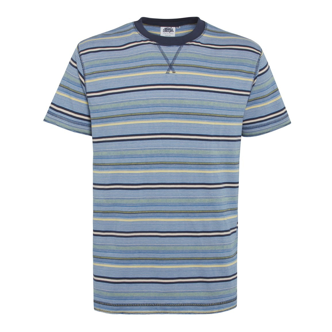 Image of Aire Jacquard Striped T-Shirt Primary Blue