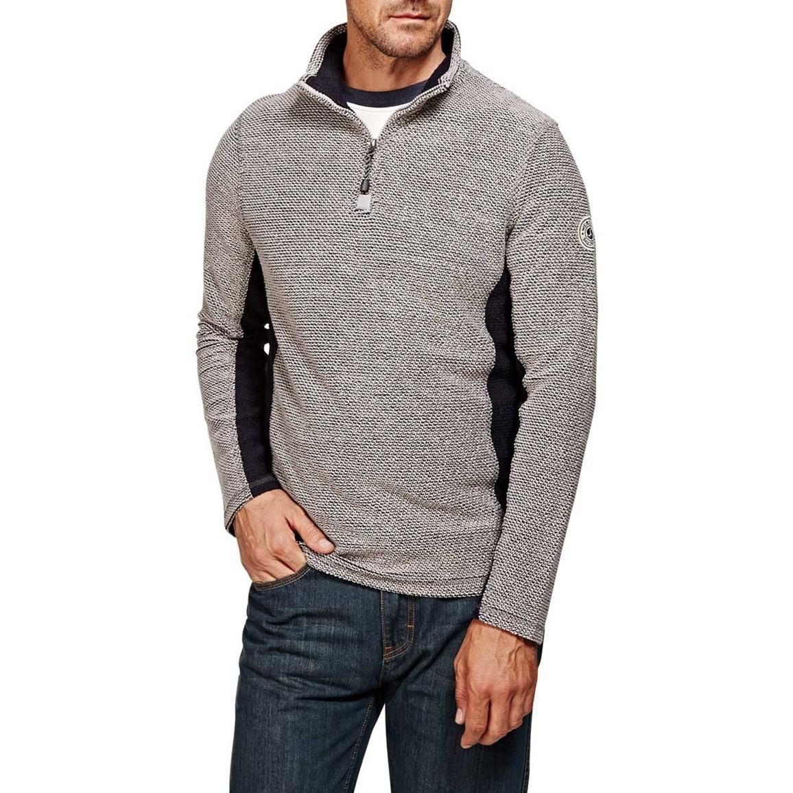 Siren Panelled 1/4 Zip Mac Active Macaroni Sweatshirt Frost Grey