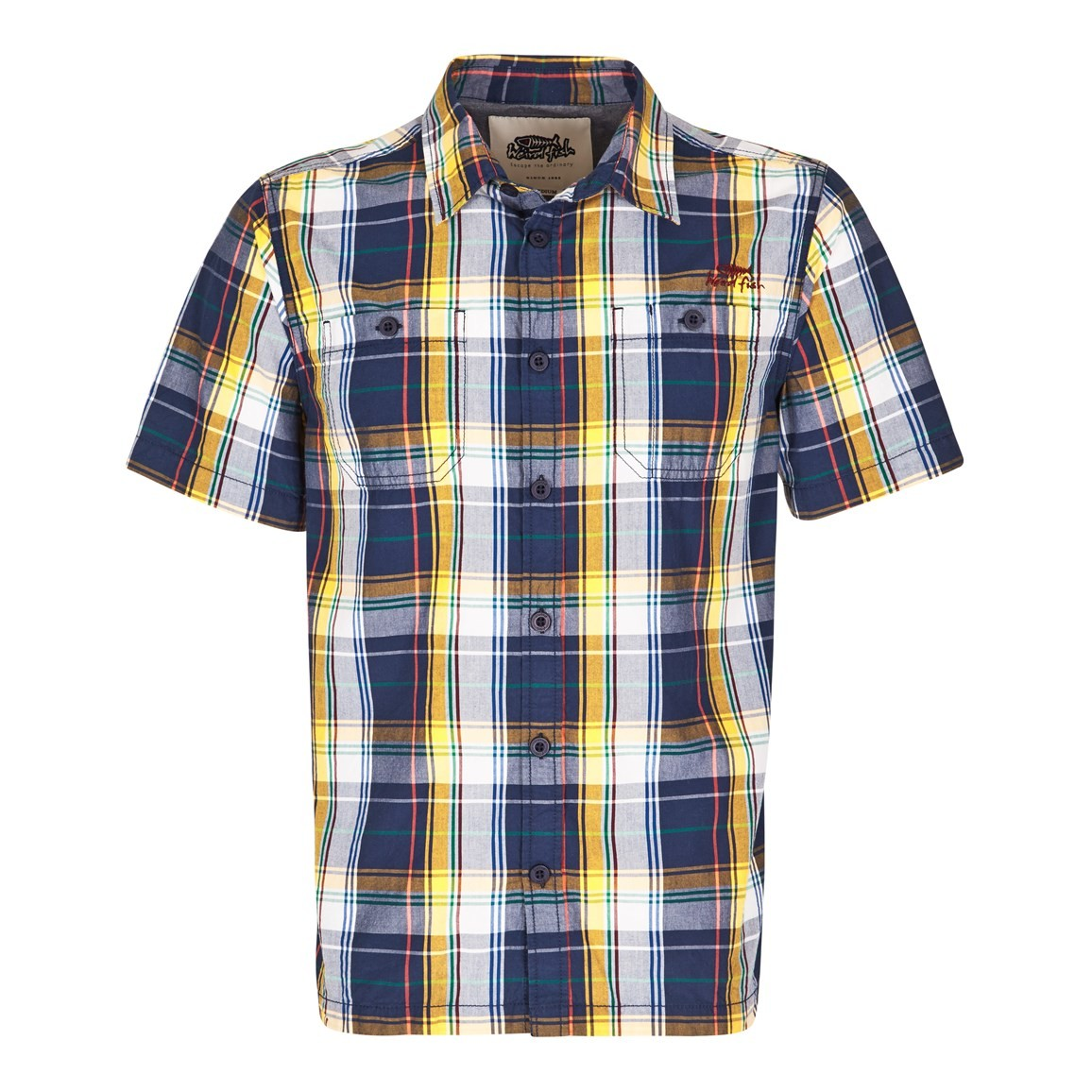 Farley Check Short Sleeve Shirt Dark Navy