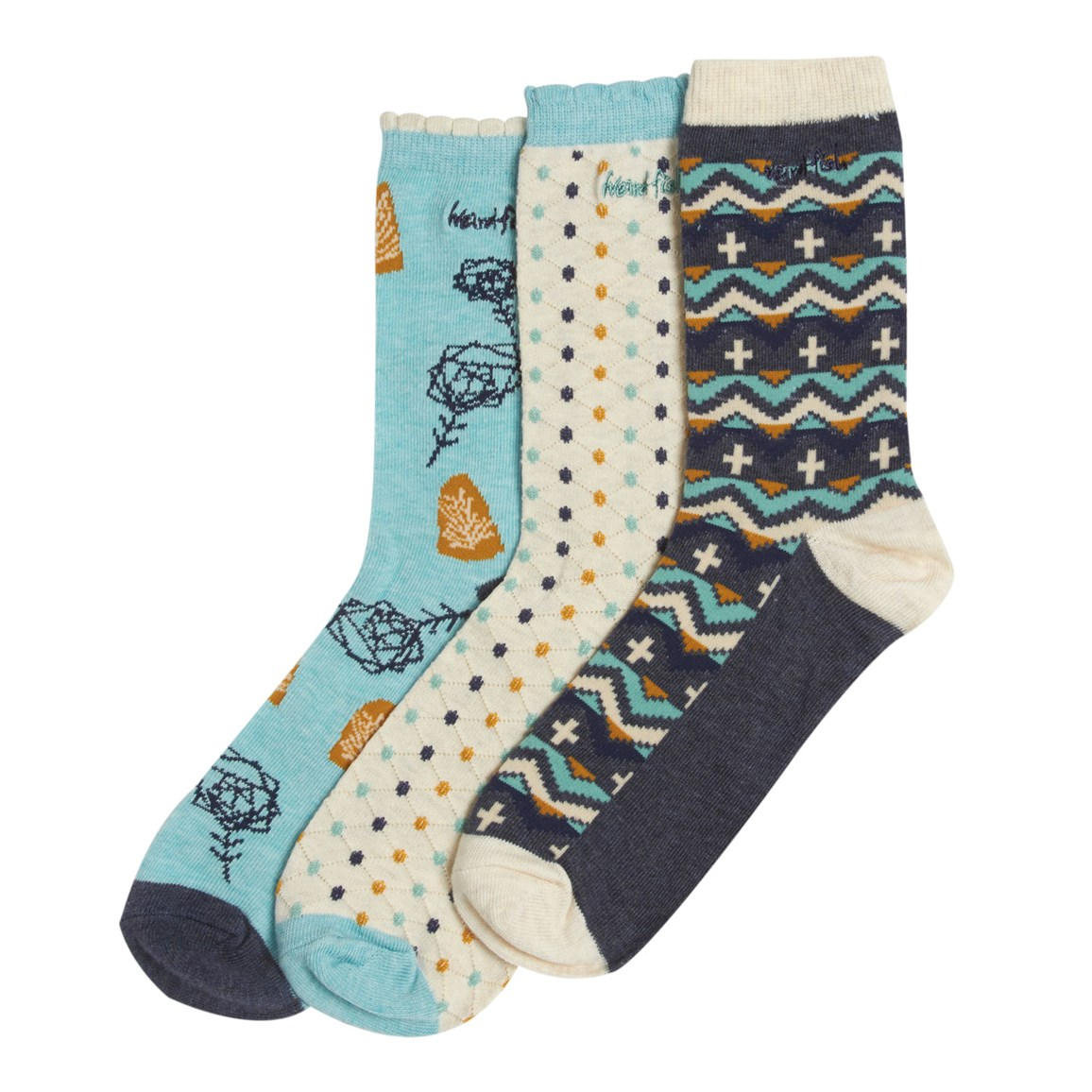 Parade Classic Printed Sock 3 Pack Dark Navy