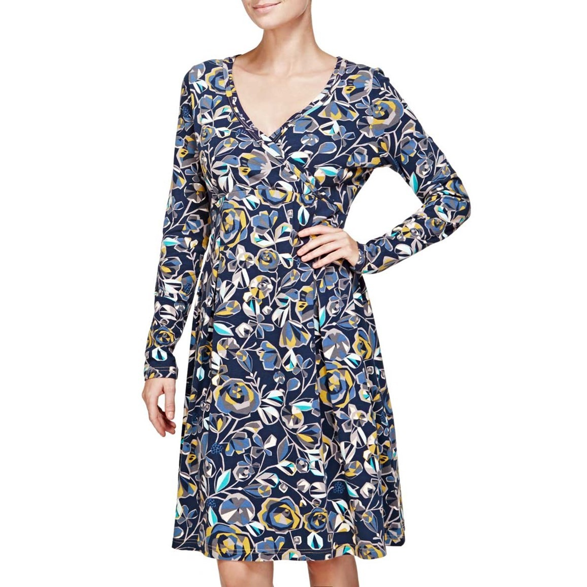 Drobak Printed Woven Dress with Cross Over Neckline Dark Navy