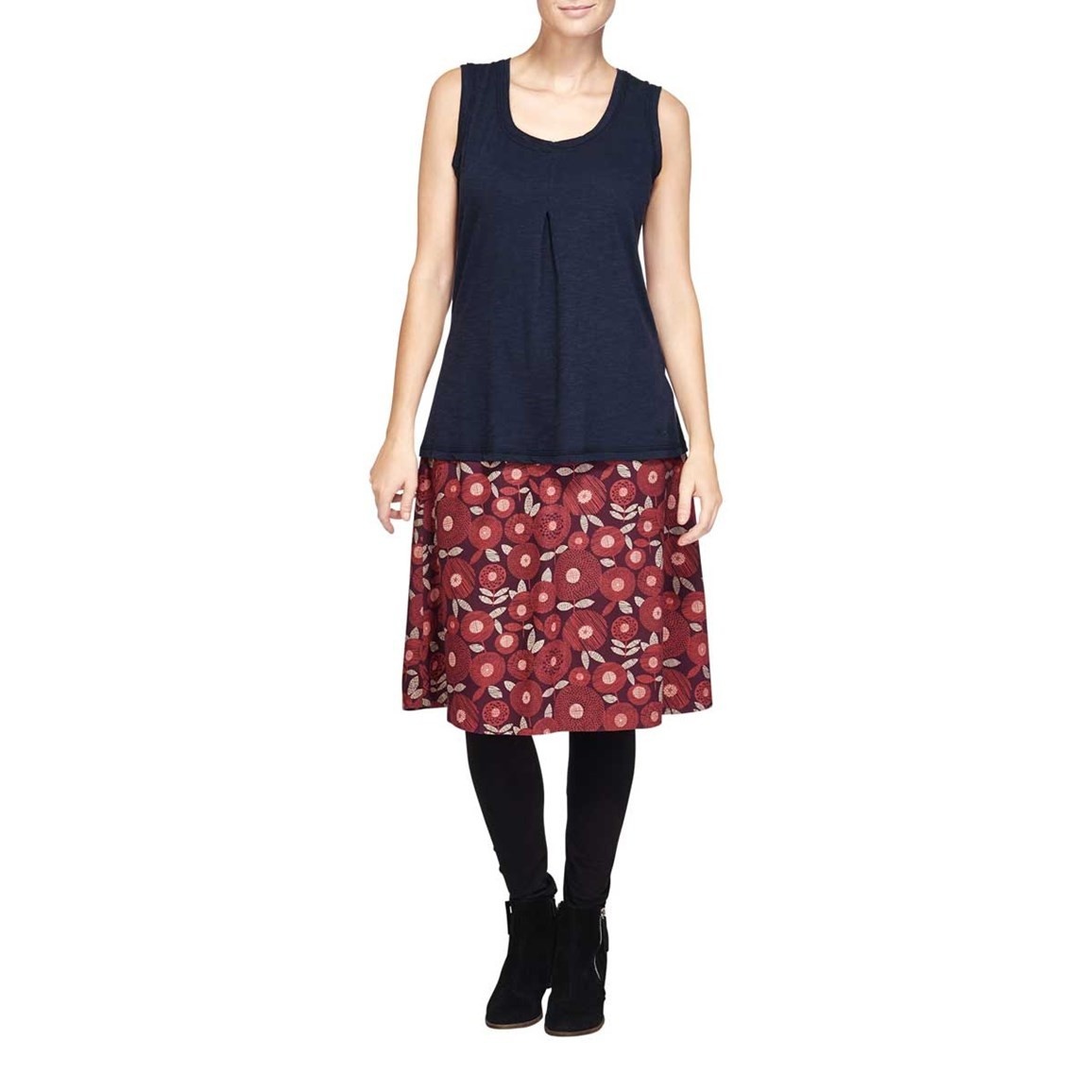 Ditte Reversible Printed A-Line Mid Length Skirt Boysenberry