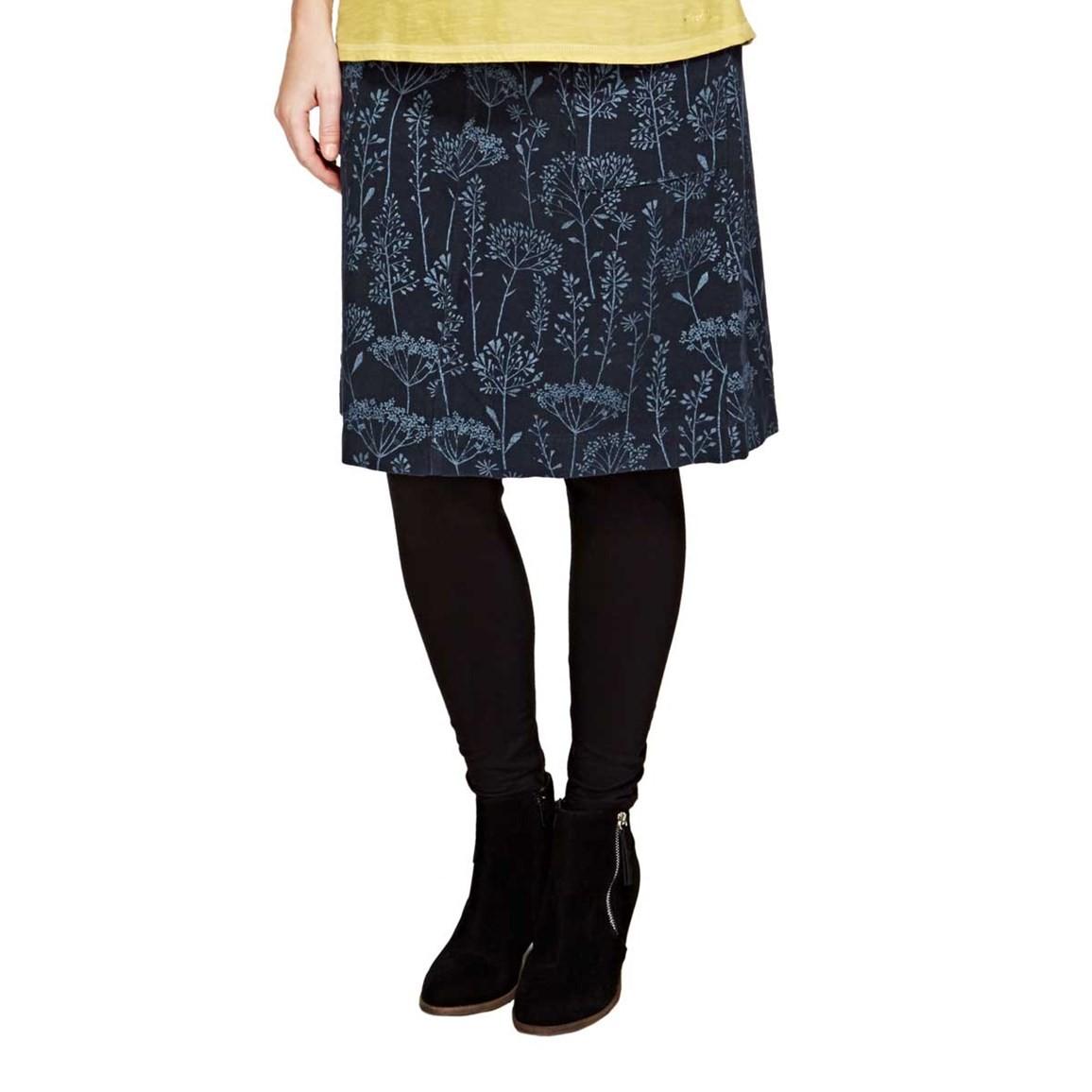 Kilma Printed Cord A-Line Mid Length Skirt Dark Navy