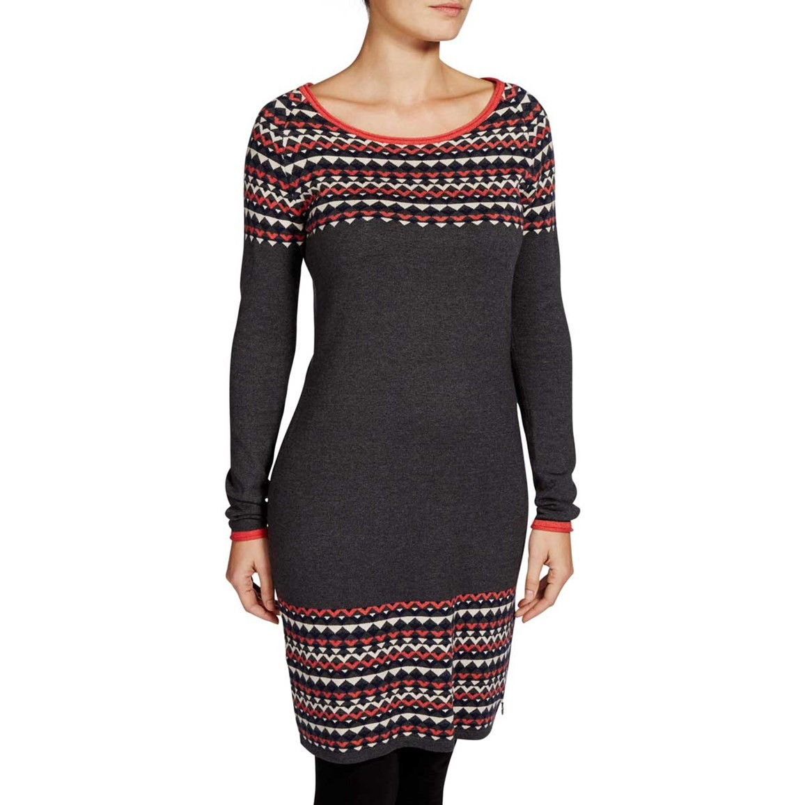 Nordic Patterned Knitted Dress Charcoal Grey