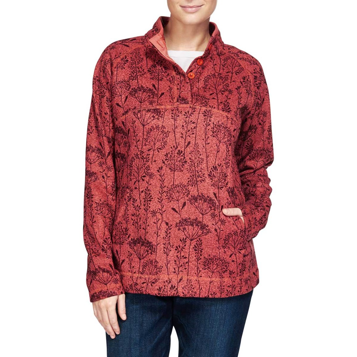 Image of Milin Floral Printed Soft Knit Fleece Sweatshirt Foxberry