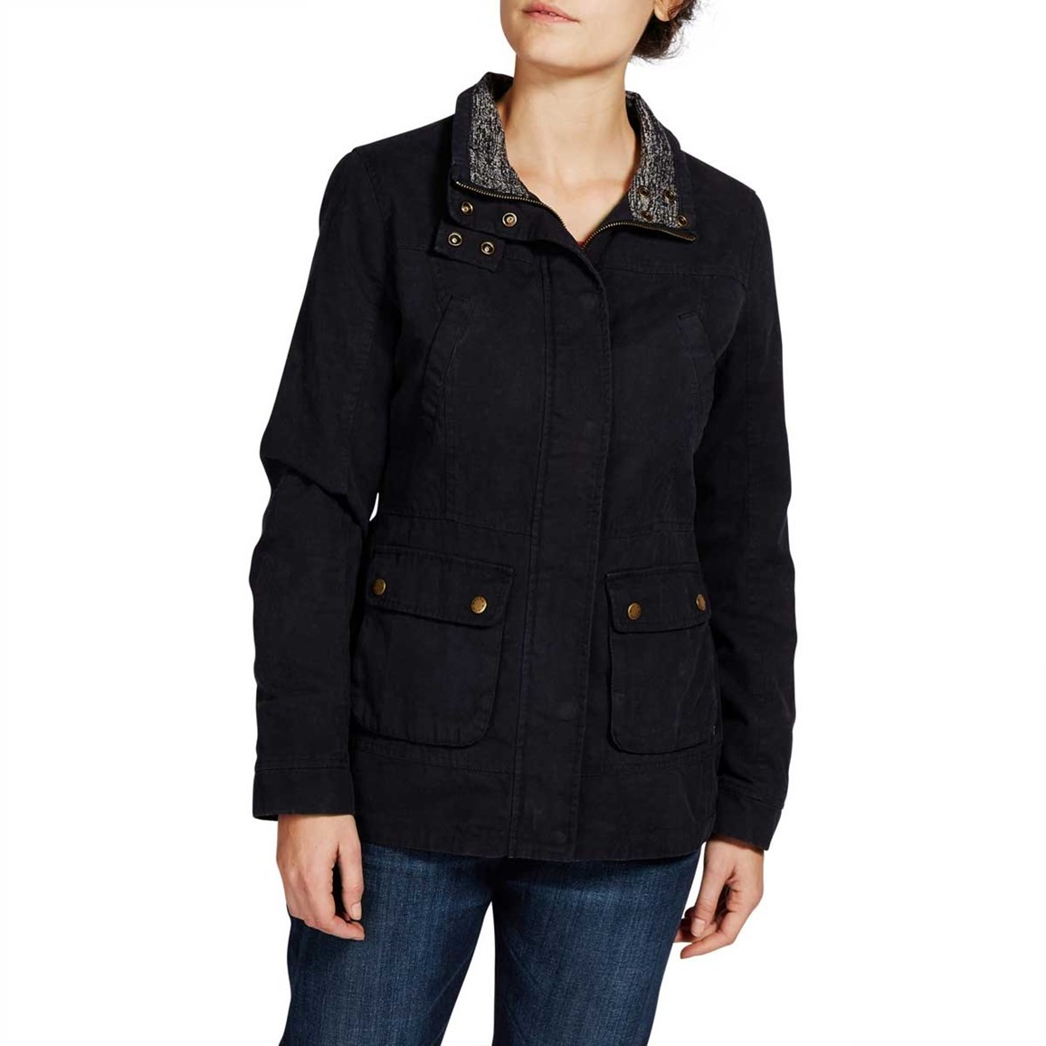 Sirri Plain Waxed Canvas Coat Dark Navy