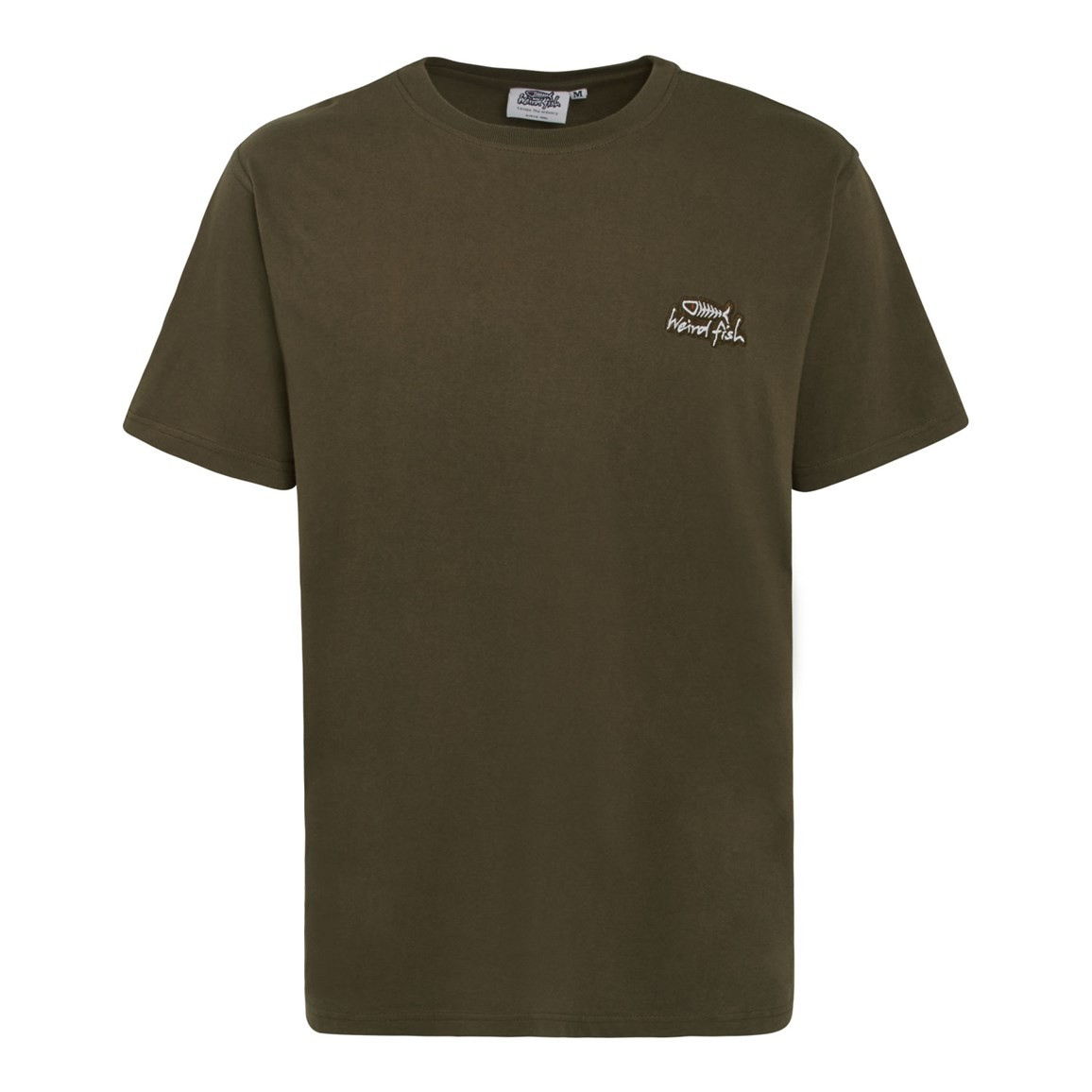 Bones Embroidered Logo Classic Plain T-Shirt Olive Night