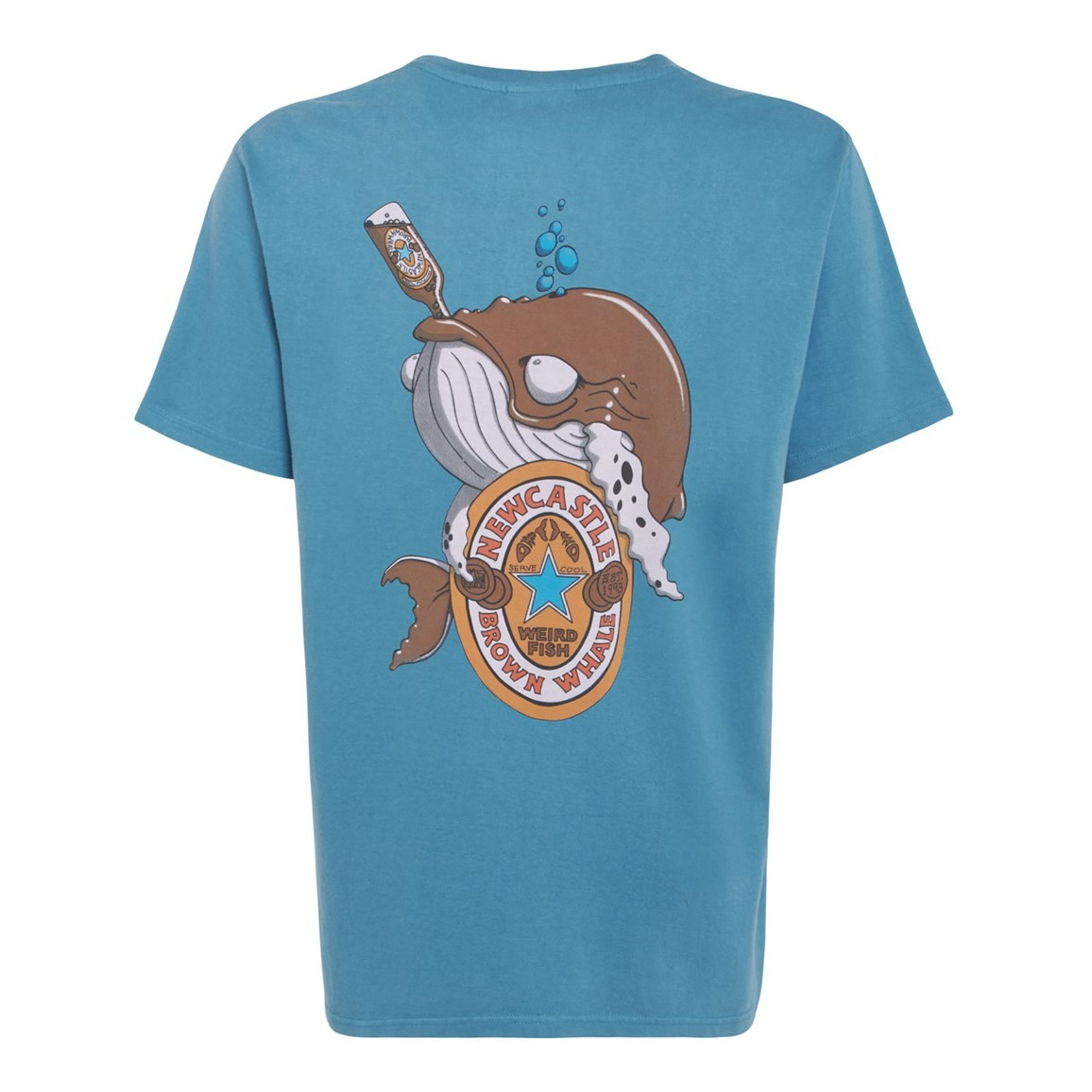 Brown Whale Printed Artist T-Shirt Adriatic Blue