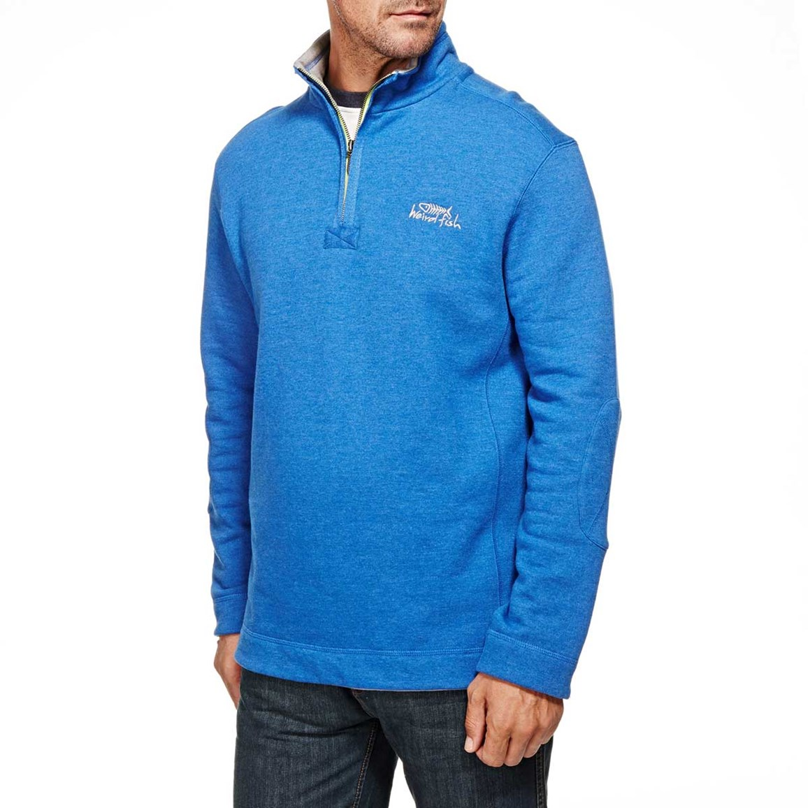 Hail Plain 1/4 Neck Zip Embroidered Sweatshirt Electric Blue