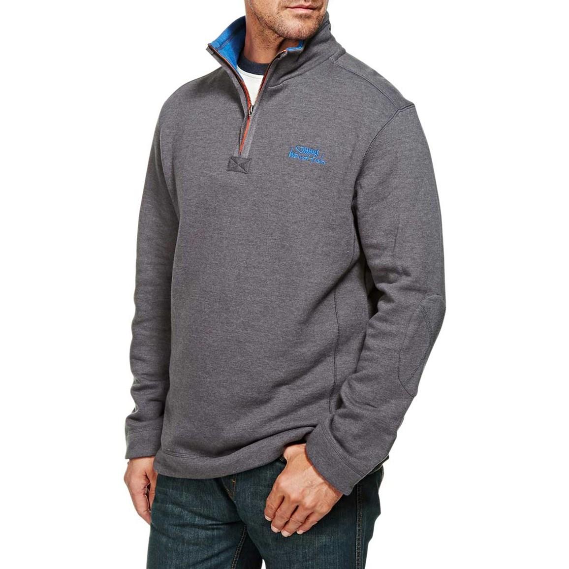 Hail Plain 1/4 Neck Zip Embroidered Sweatshirt Ebony