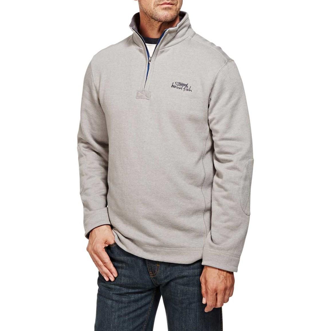Hail Plain 1/4 Neck Zip Embroidered Sweatshirt Frost Grey