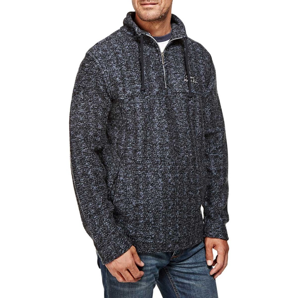 Image of Aardvark Panelled 1/4 Zip Soft Knit Fleece Sweatshirt Ebony
