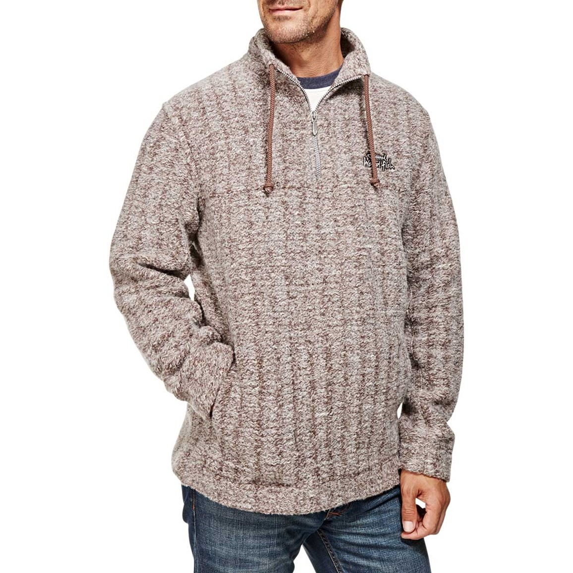 Image of Aardvark Panelled 1/4 Zip Soft Knit Fleece Sweatshirt Mink