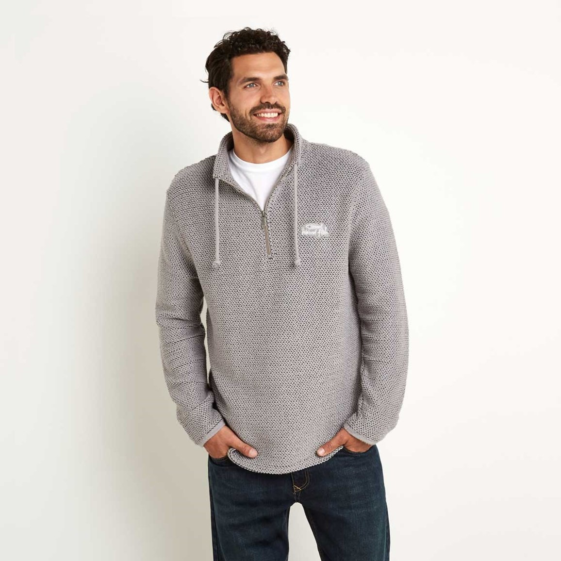 Cruiser 1/4 Zip Classic Macaroni Sweatshirt Frost Grey