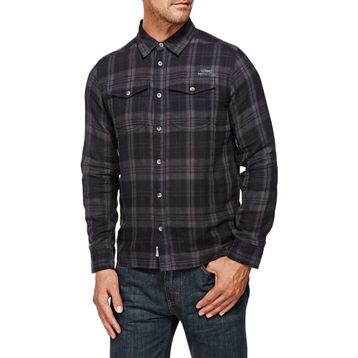Alfie Check Long Sleeve Shirt Ebony