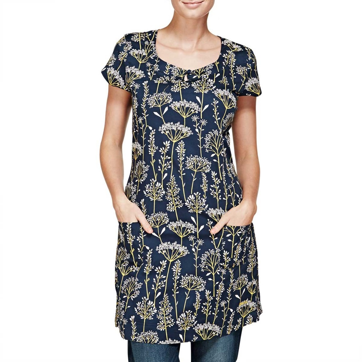 Image of Alana Short Sleeve Printed Stretch Tunic Top Dark Navy