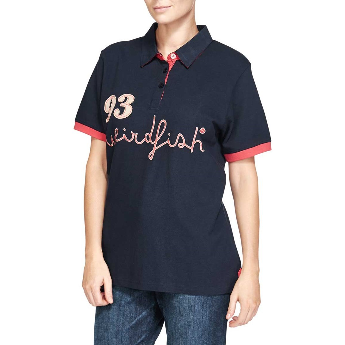 Kendrick Graphic Print Polo Shirt Dark Navy