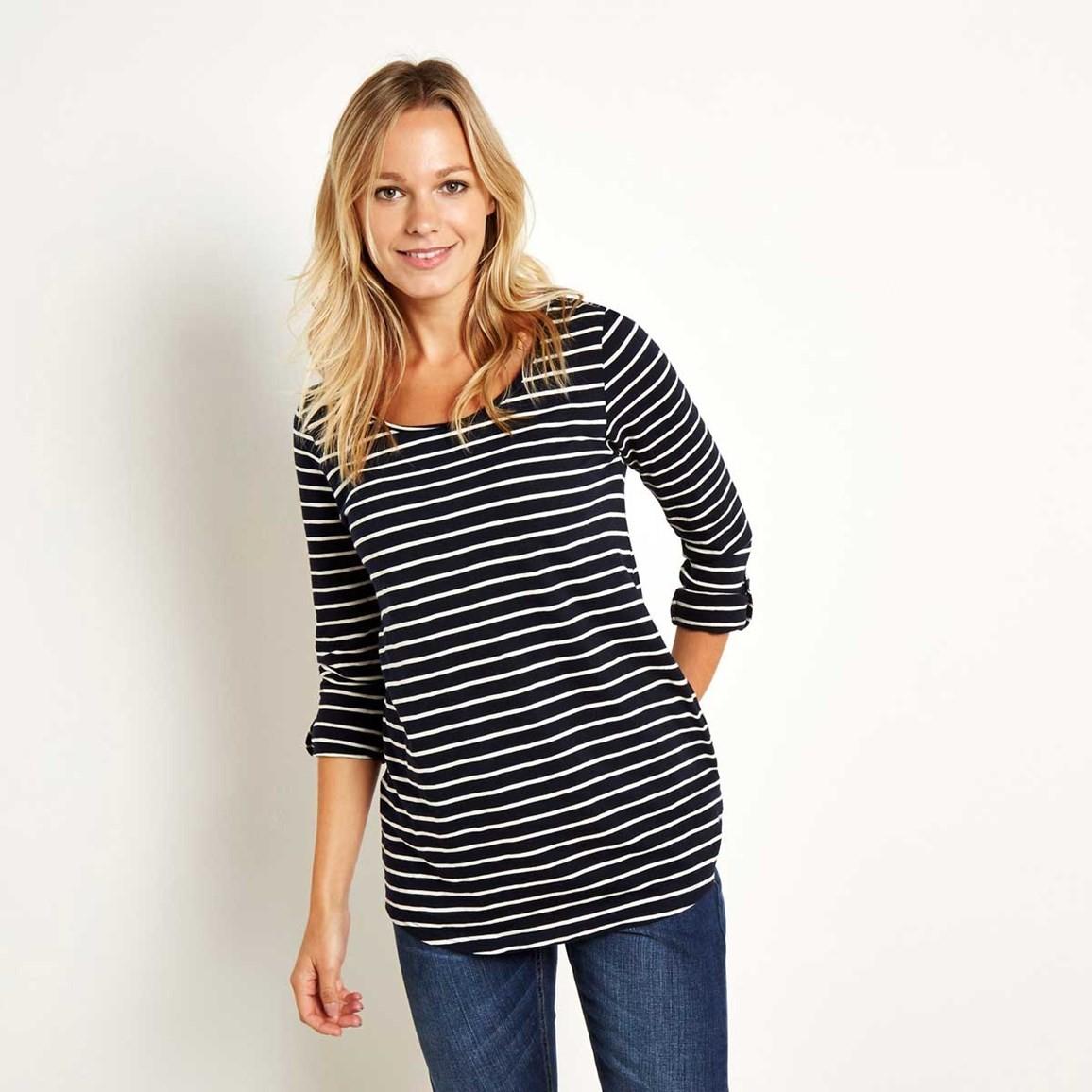 Fairfax Striped Long Sleeve Slub T-Shirt Dark Navy