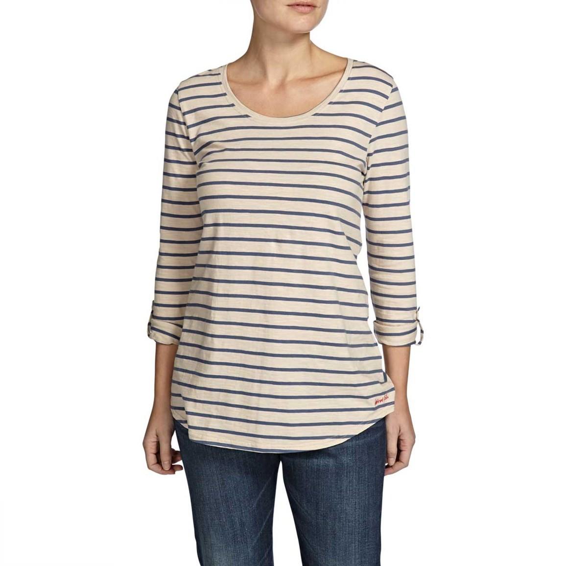 Fairfax Striped Long Sleeve Slub T-Shirt Pebble