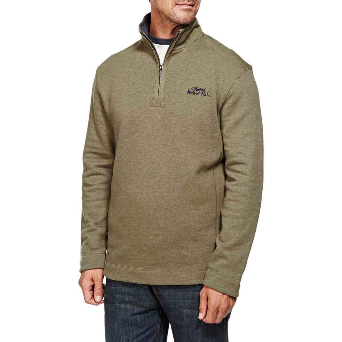 Hail Plain 1/4 Neck Zip Embroidered Sweatshirt Olive Night
