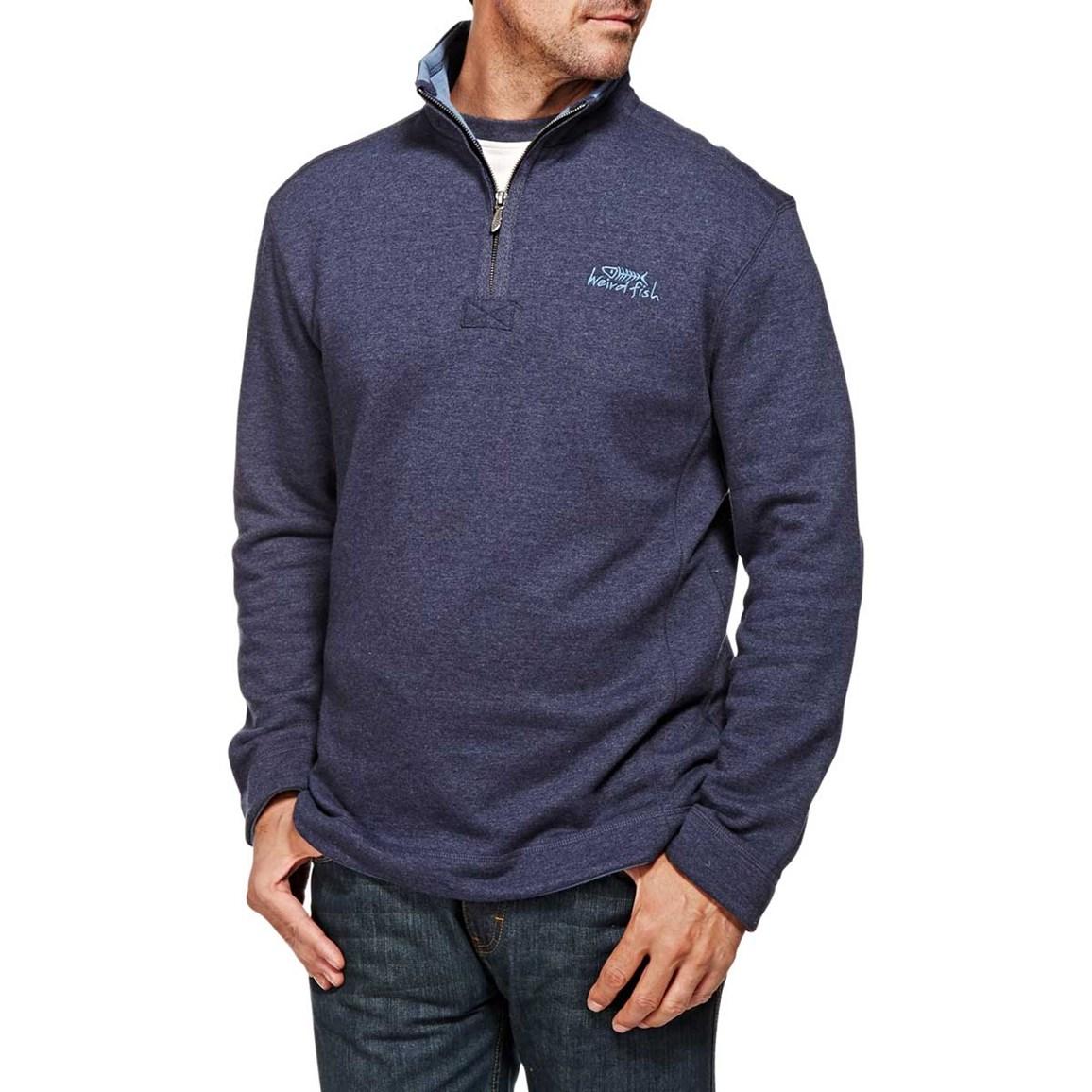 Hail Plain 1/4 Neck Zip Embroidered Sweatshirt Dark Navy