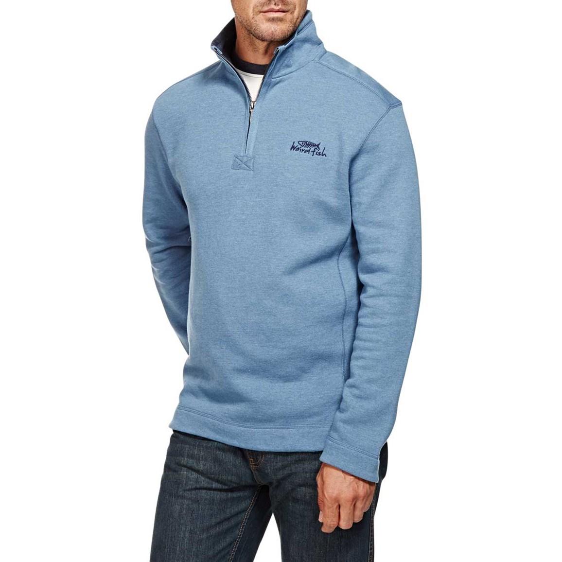 Hail Plain 1/4 Neck Zip Embroidered Sweatshirt Airforce Blue