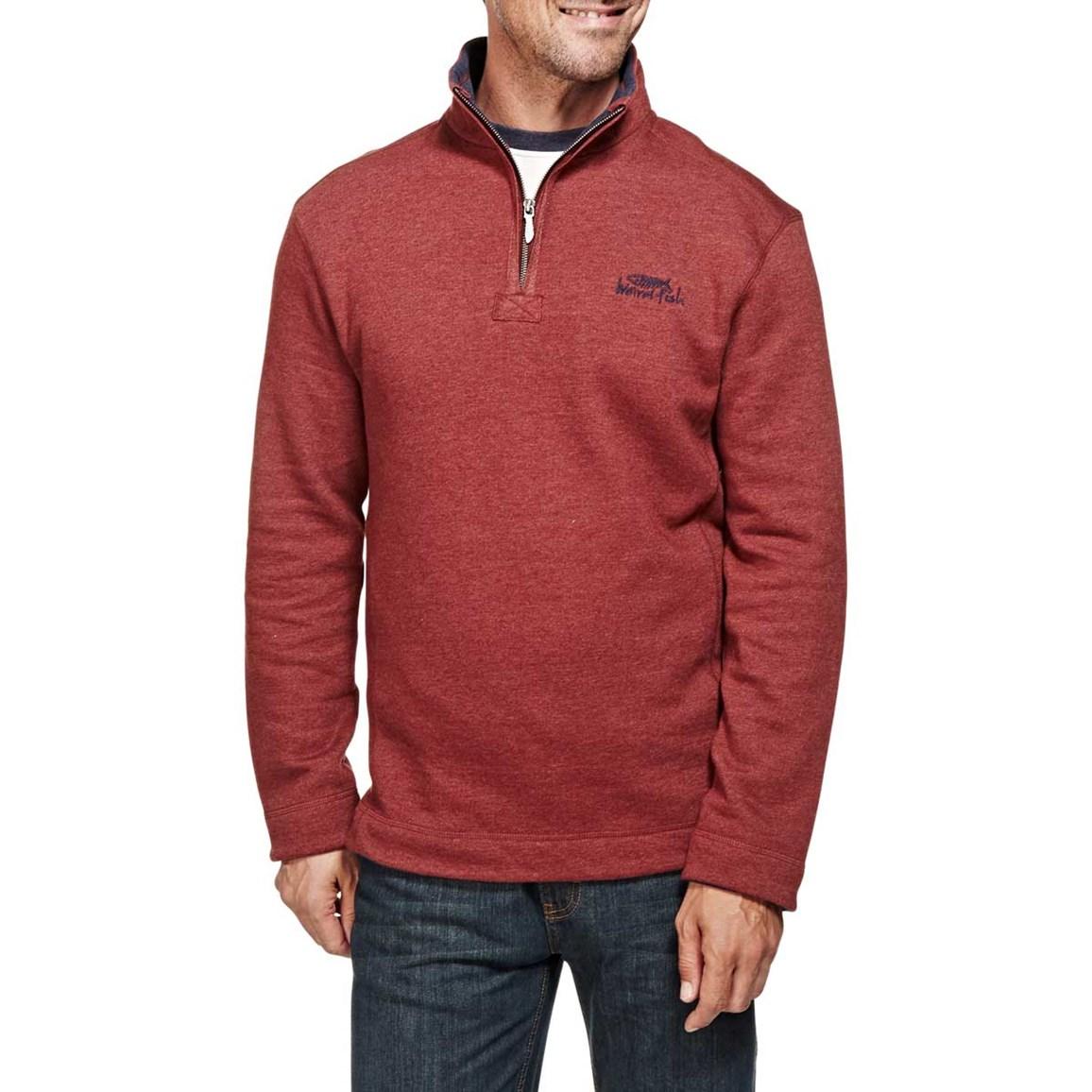 Hail Plain 1/4 Neck Zip Embroidered Sweatshirt Conker