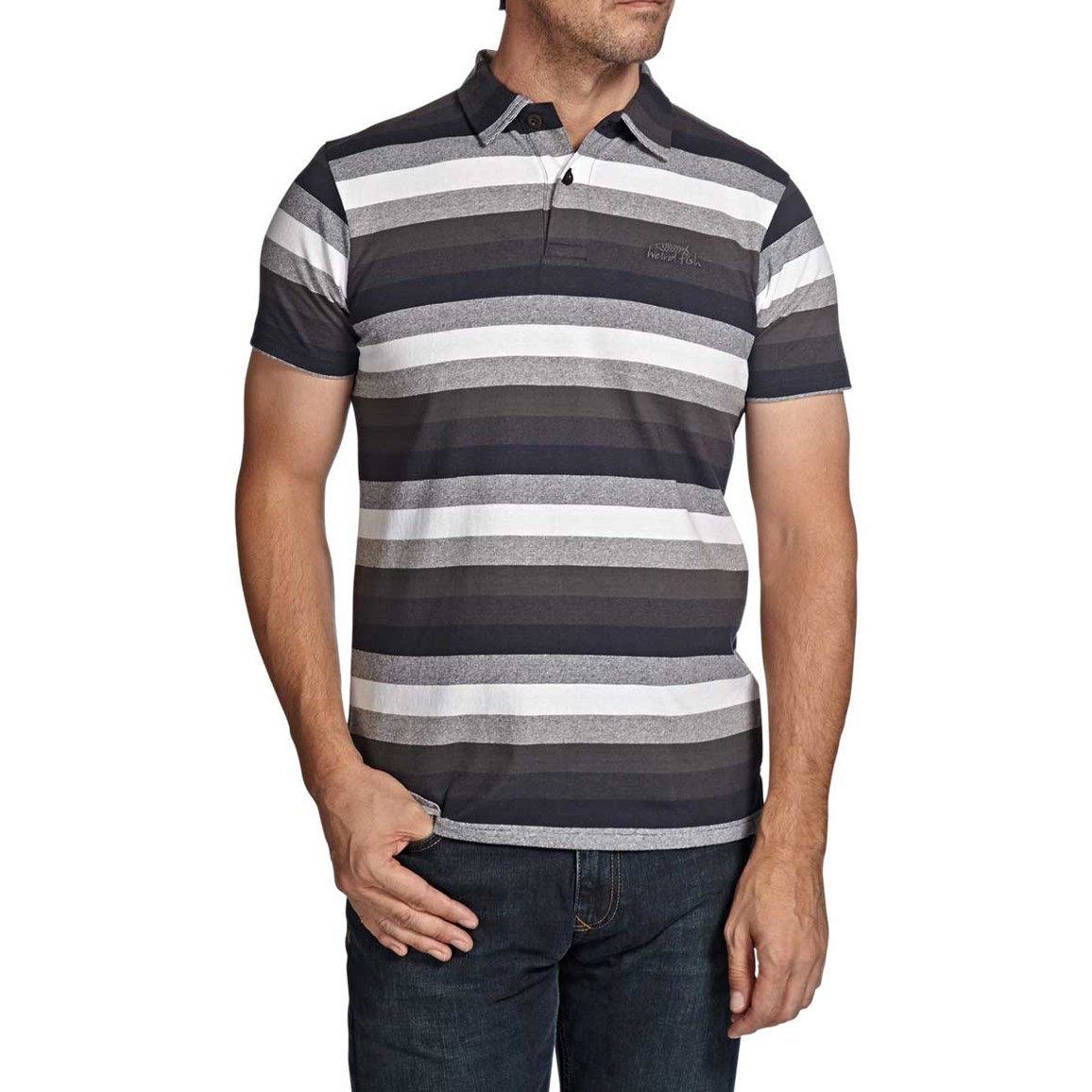 Black Water Stripe Classic Polo Shirt Dark Navy