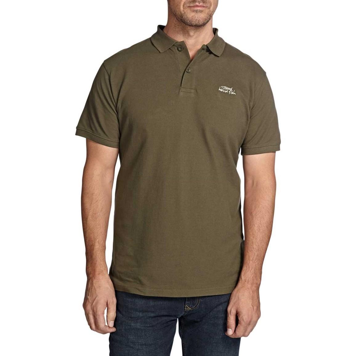 Saltash Plain Rib Collar Pique Polo Shirt Olive Night