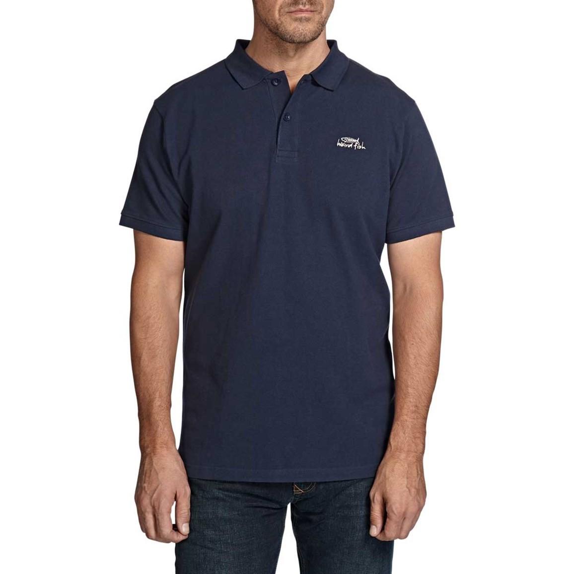 Saltash Plain Rib Collar Pique Polo Shirt Dark Navy