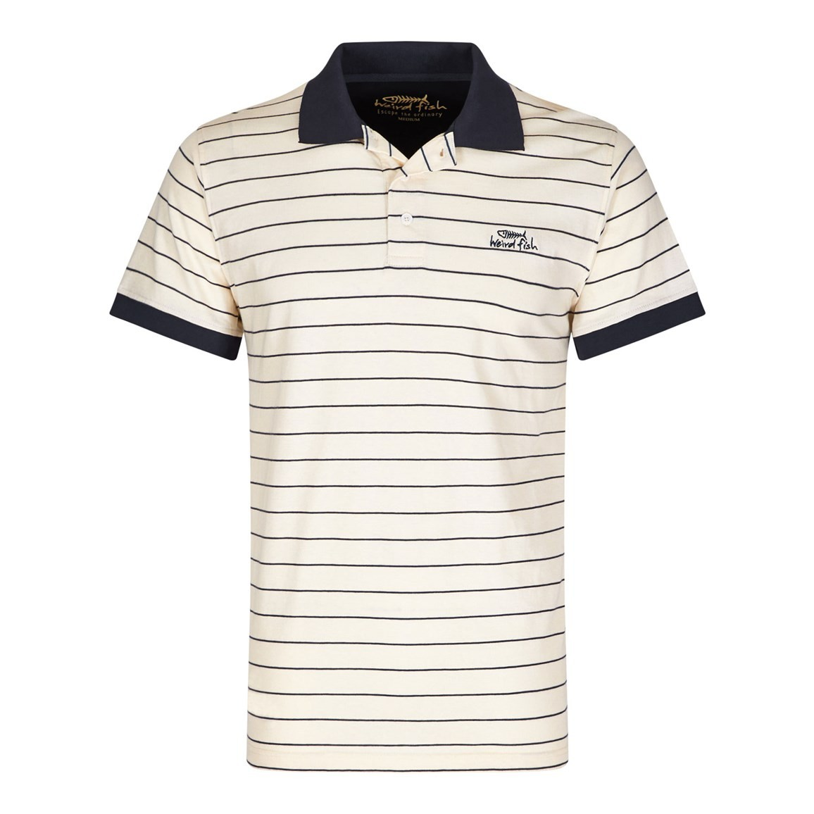 Image of Aerotech Thin Stripe Jersey Polo Shirt Cloud Cream