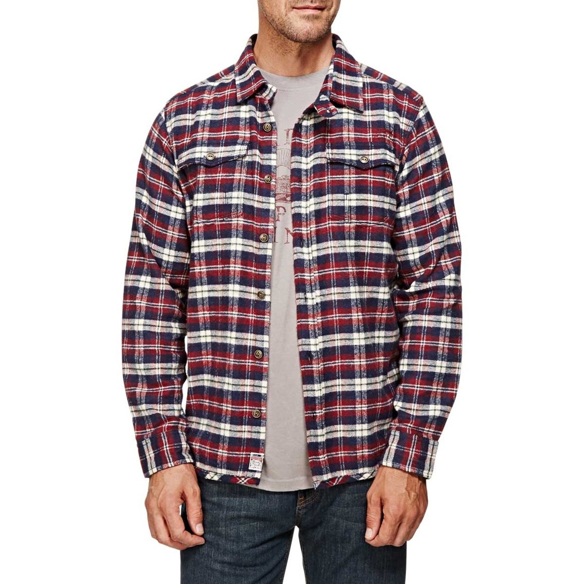 Ashburton Flannel Check Long Sleeve Shirt Dark Navy