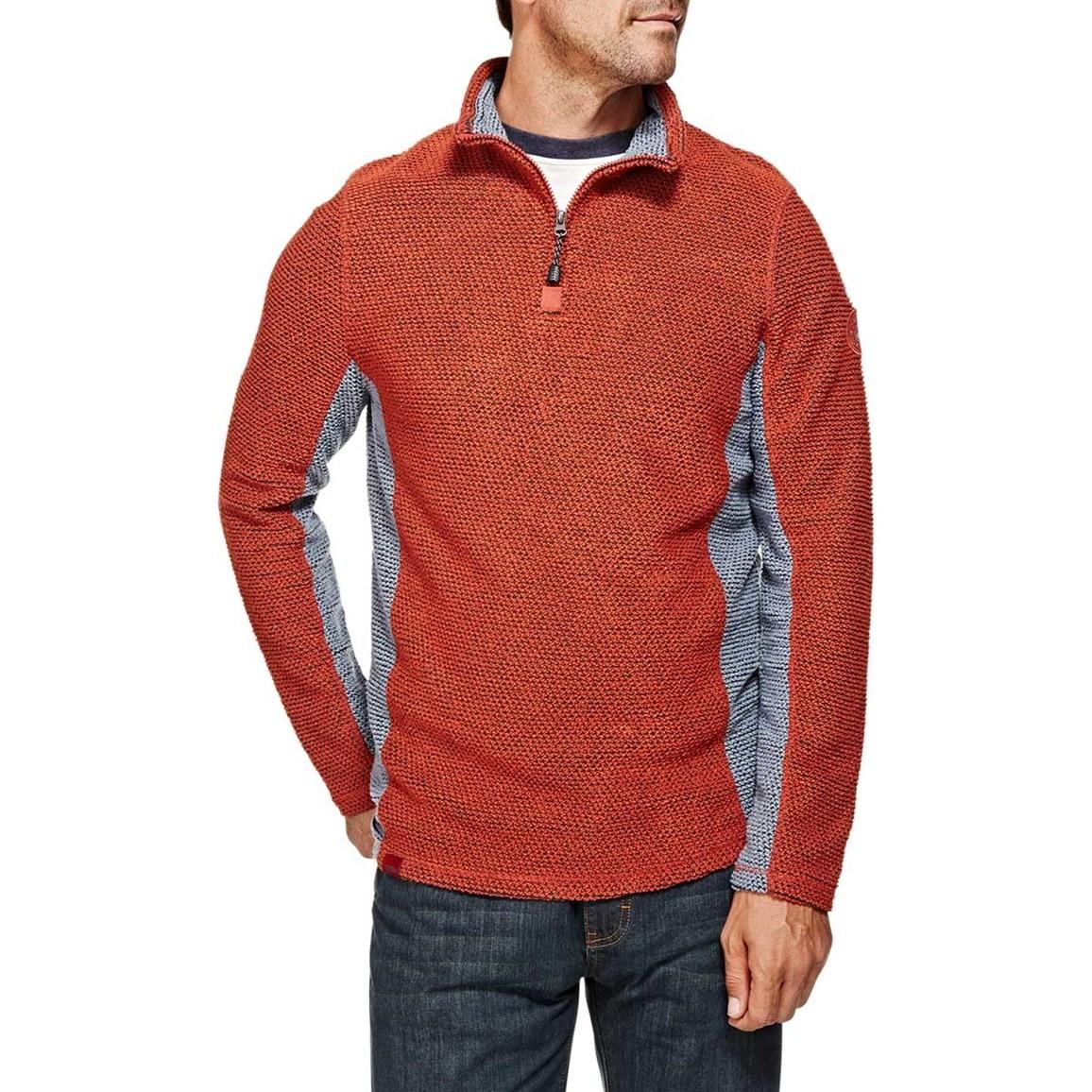 Siren 1/4 Zip Panelled Mac Active Macaroni Sweatshirt Chilli Red