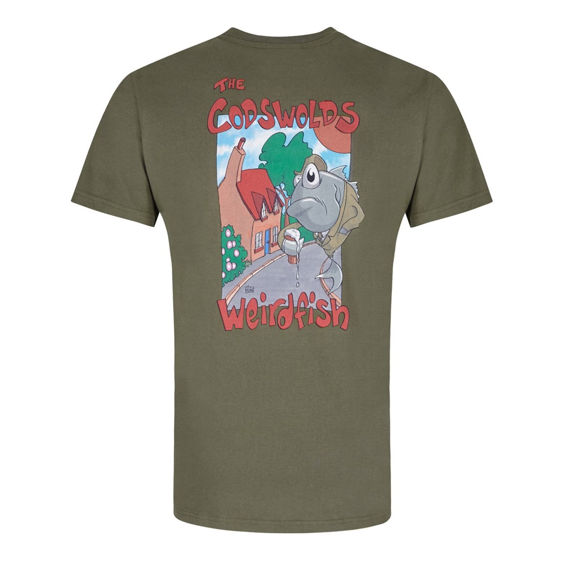 Codswolds Printed Artist T-Shirt Olive Night