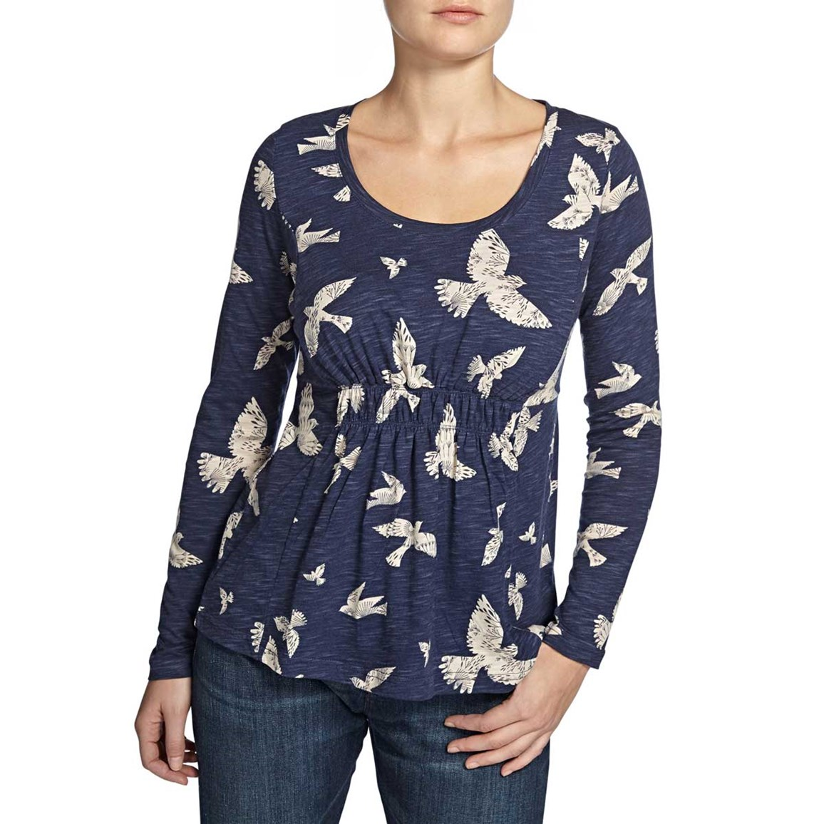 Thea Printed Long Sleeve Jersey Top Navy
