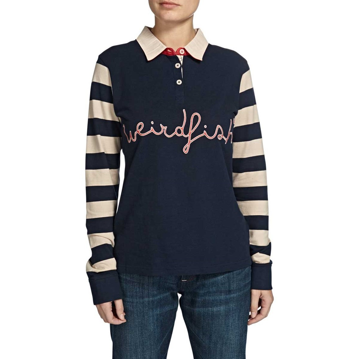 Streeter Striped Long Sleeve Polo Rugby Top Dark Navy