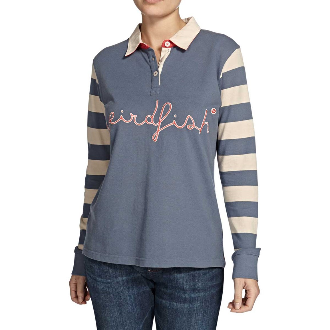Streeter Striped Long Sleeve Polo Rugby Top Storm