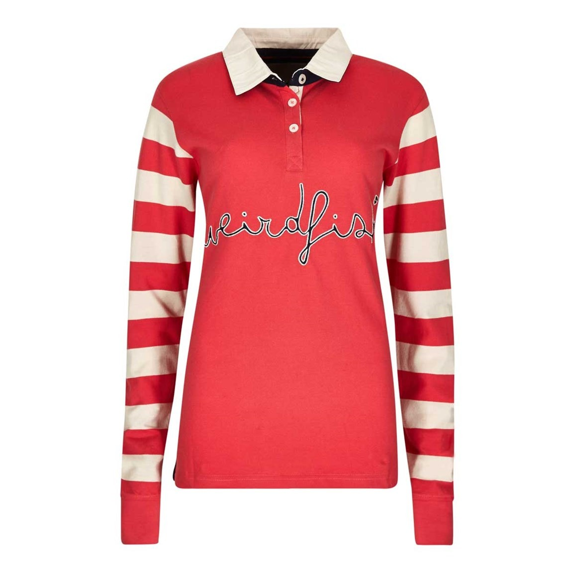 Streeter Striped Long Sleeve Polo Rugby Top Foxberry