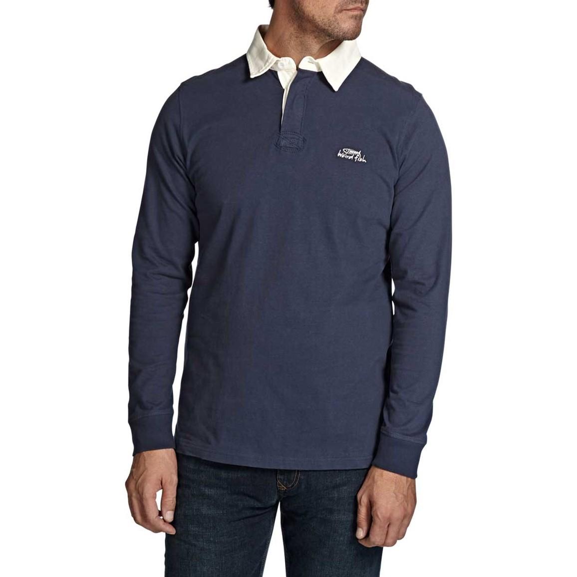 Lynton Cotton Sueded Rugby Style Sweatshirt Dark Navy