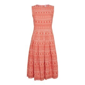 Paz Woven Jaquard Dress Burnt Orange